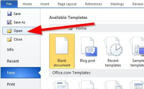 Open File Option in MS Word