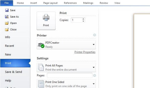 Print Option in MS Word