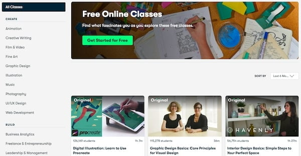 Free Classes of Skillshare