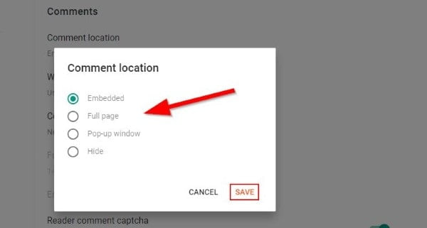 Blogger Comment Location Setting