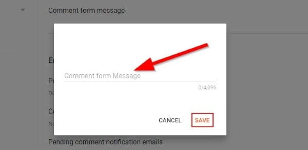 Blogger Comment Message Setting