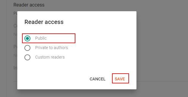 Blogger Reader Access Settings