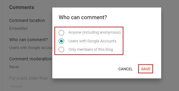 Blogger Who Can Comment Setting