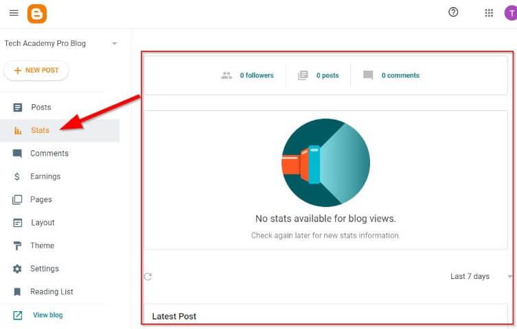 Check Blog Status on Blogger