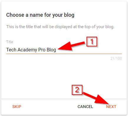 Create Blog on Blogger: Step 1