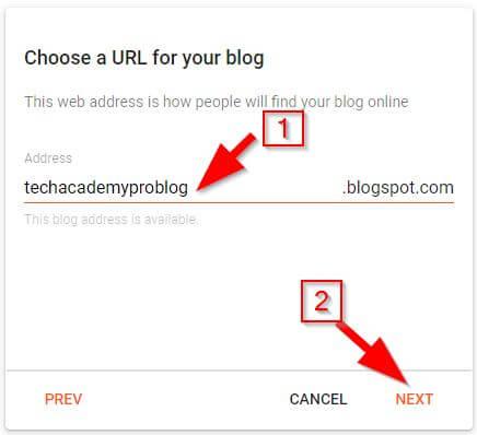 Create Blog on Blogger: Step 2