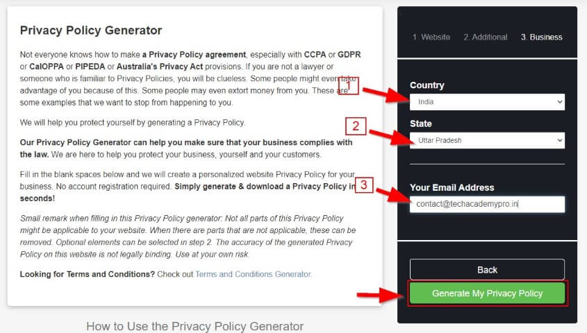 How to Create Privacy Policy for Website - Step 4