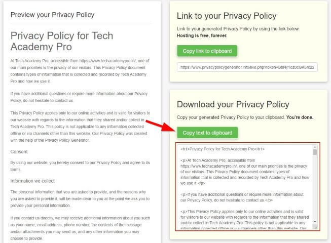 How to Create Privacy Policy for Website - Step 5