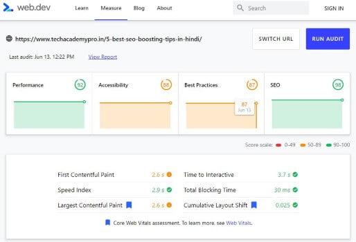 Web.Dev Measure Website Speed Test Tool