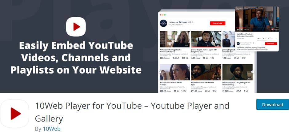 10Web Player for YouTube WordPress plugin