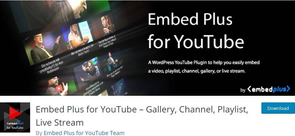Embed Plus for YouTube Gallery WordPress plugin