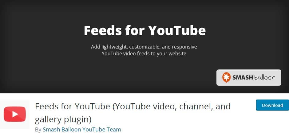 Feeds for YouTube gallery WordPress plugin
