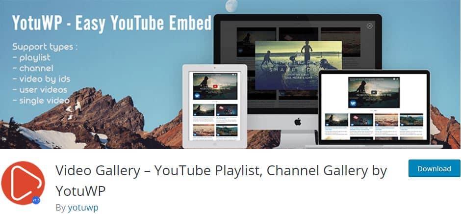 Video Gallery YouTube Playlist WordPress plugin