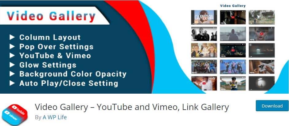 Video Gallery YouTube and Vimeo WordPress plugin