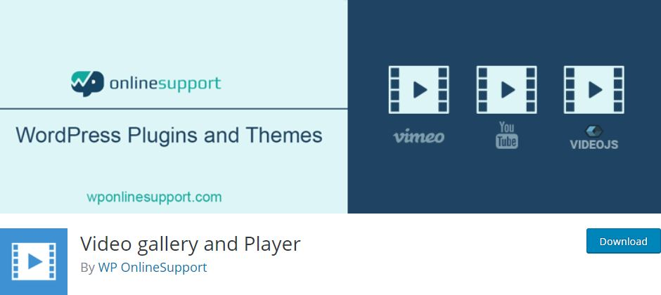 Video gallery and Player WordPress plugin