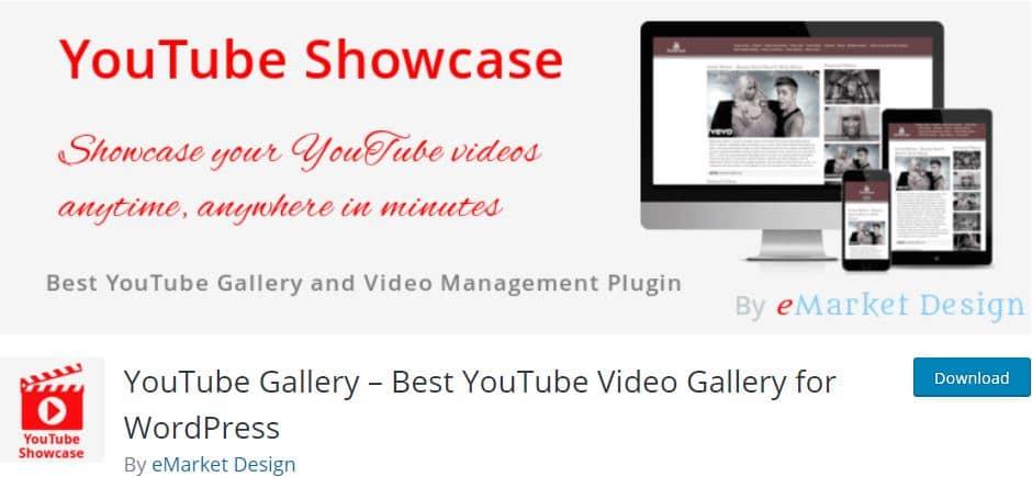 YouTube Showcase Video Gallery WordPress plugin