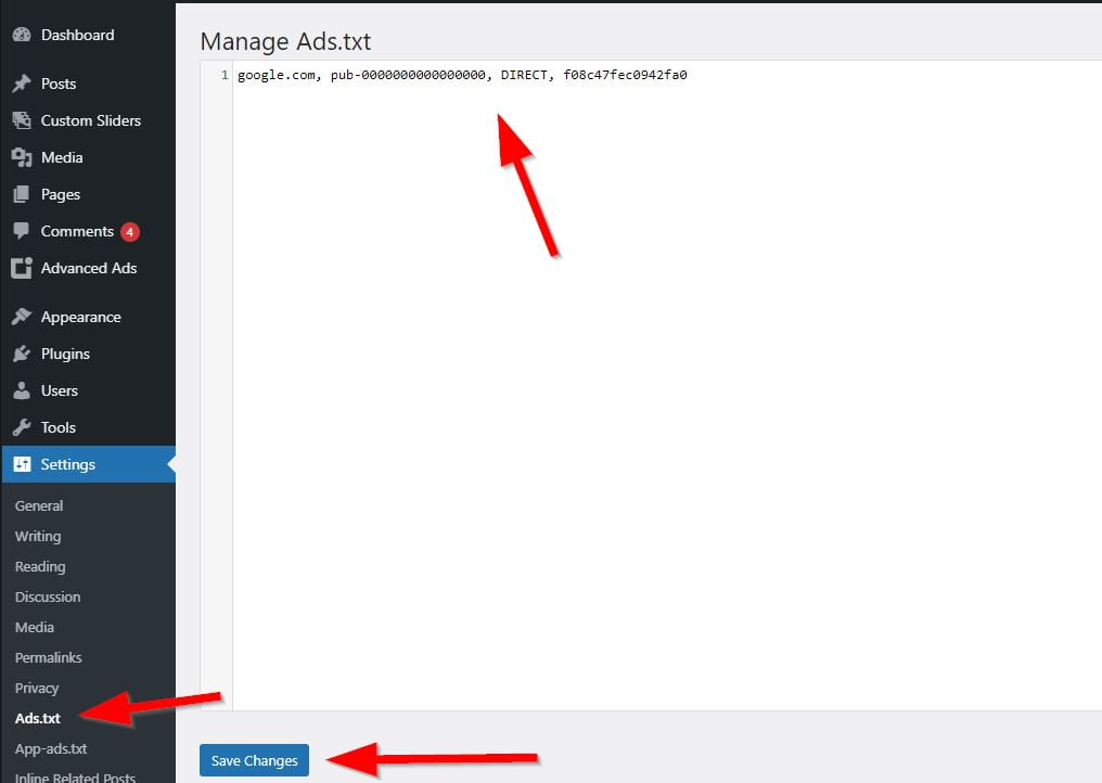 Add Ads.txt File in WordPress