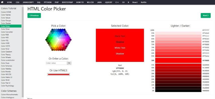 HTML Color Picker