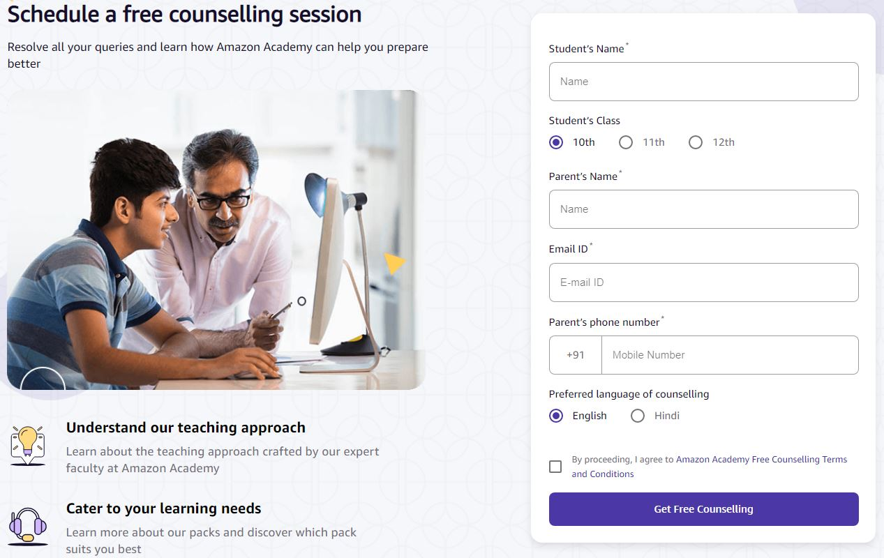 Amazon academy free counselling session