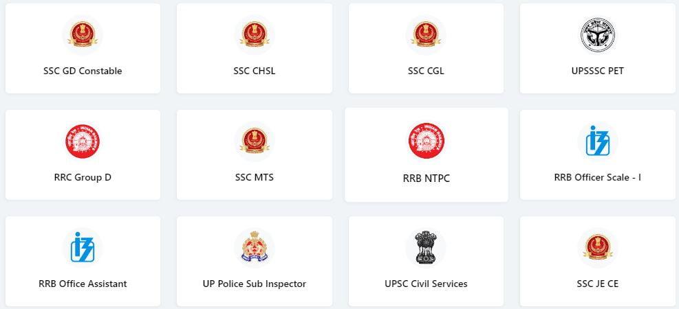 Courses of TestBook Govt Exam Preparation Site