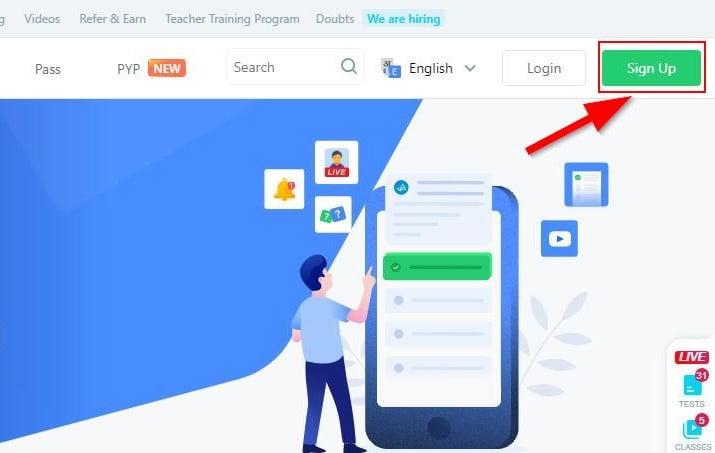 Registration of TestBook Govt Exam Preparation Site